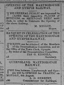Gympie Times, Wednesday, August 3, 1881 p. 2 Opening of Railway line