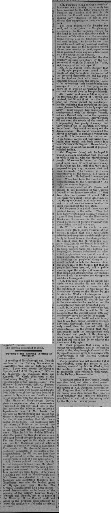 Gympie Times, Wednesday, August 3, 1881 p. 3 Opening of Railway meeting of Delegates