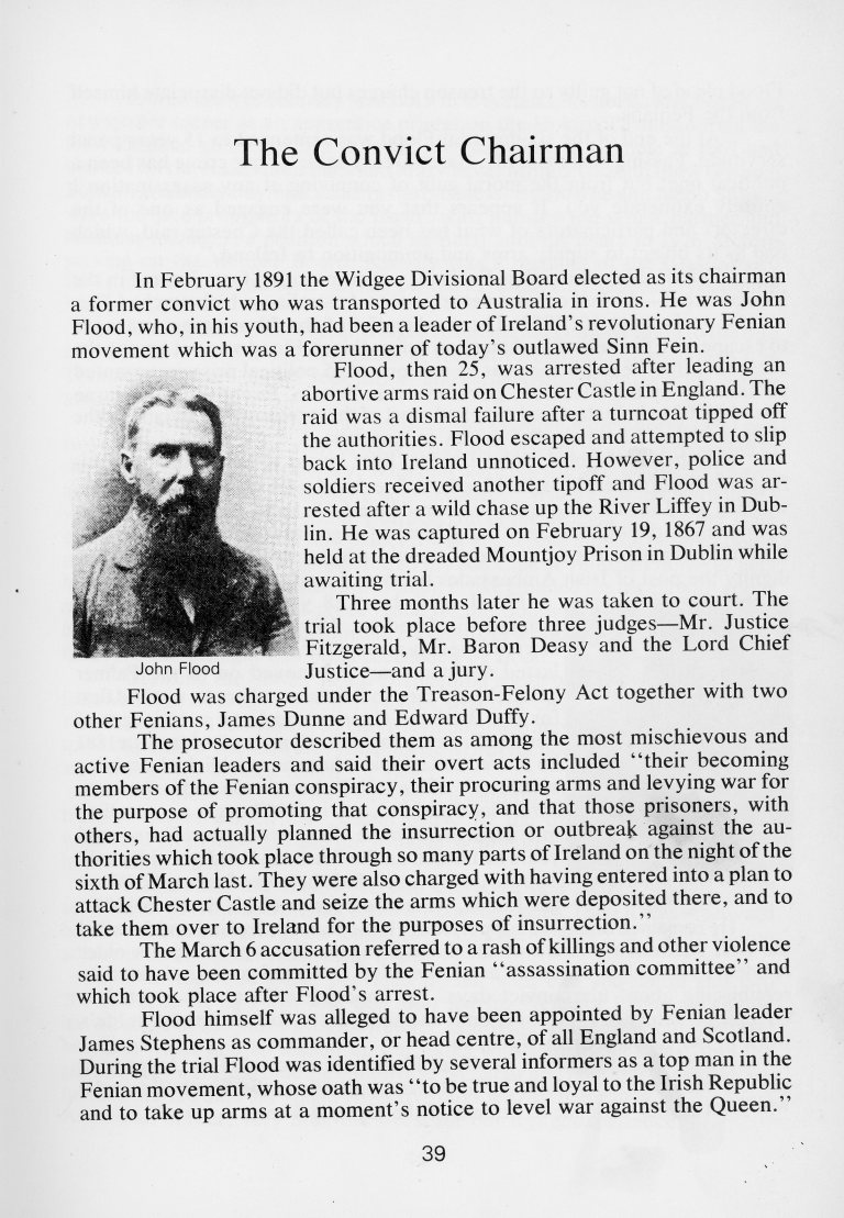 'Winds of Change 100 years in Widgee Shire' by Ian Pedley The Convict Chairman p.39