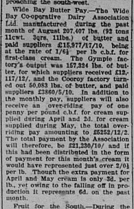Gympie Times, Saturday, September 12, 1925 p. 5 Wide Bay Dairy Co-op production
