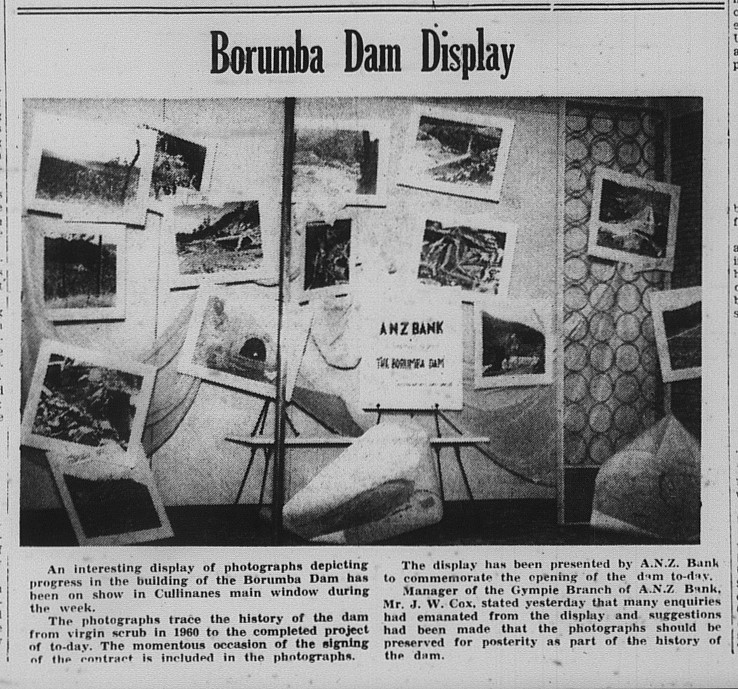 GT Saturday, September 12, 1964 p. 1 Borumba Dam Display