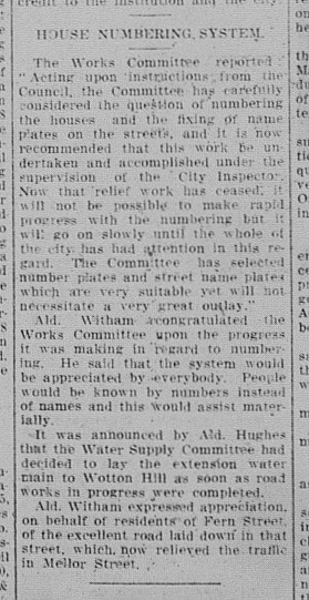 Gympie Times, Saturday, September 17, 1938 p. 3 House numbering introduced