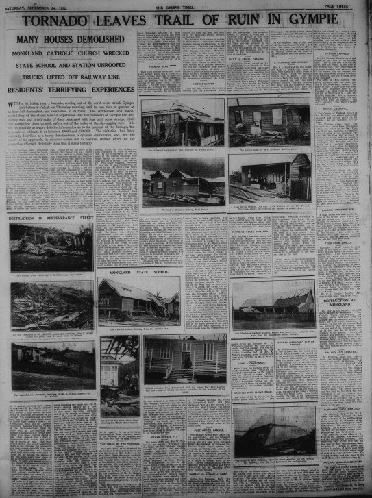 Tornado leaves trail of ruin in Gympie Gympie Times, Saturday, September 23, 1932 p.3