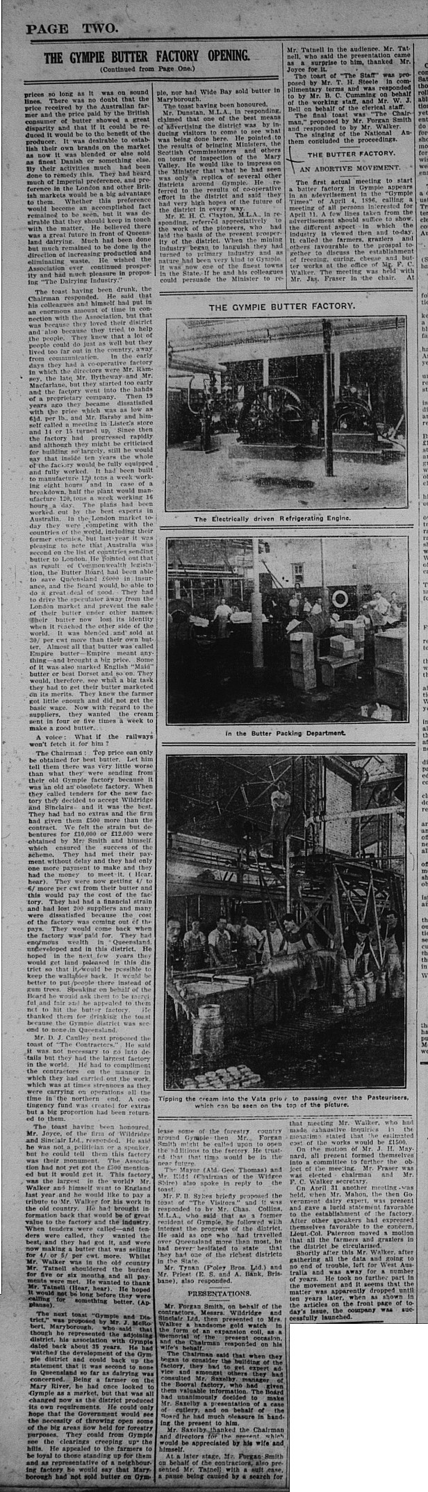 GT Saturday, September 26, 1925 p.2 Opening of World's Biggest Butter Factory