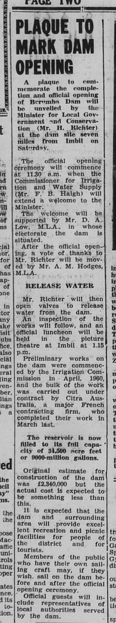 Gympie Times, Thursday, September 10, 1964 p. 2 Plaque to Mark Dam Opening