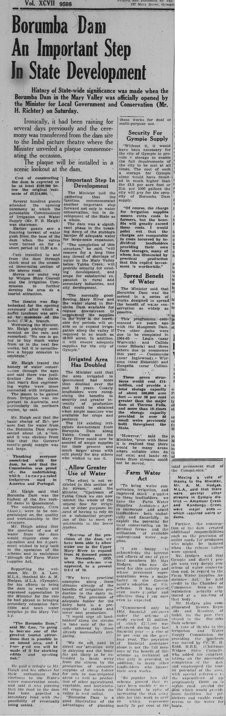 GT Tuesday, September 15, 1964 p. 1 Borumba Dam an important step in State Development