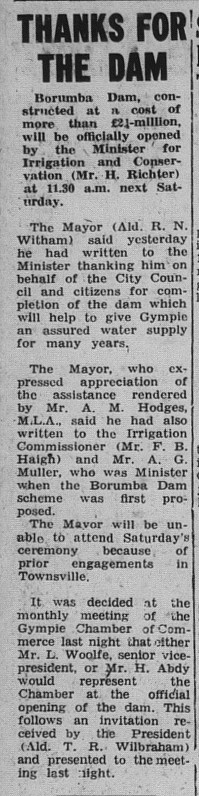 Gympie Times, Tuesday, September 8, 1964 p. 2 Thanks for the Dam