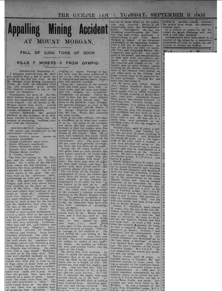 The Gympie Times, Tuesday Septmber 8 1908