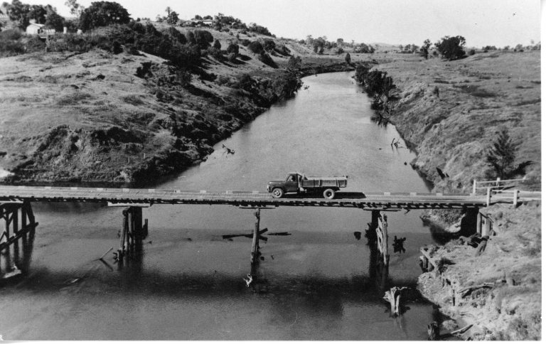 The Normanby Bridge which was destroyed in the 1955 flood