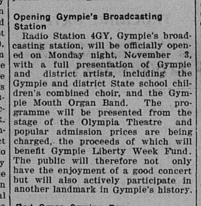 Opening Gympie's Broadcasting Station