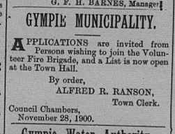 Gympie Times Thursday, November 29, 1900 Advertising applications for membership