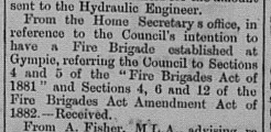 Gympie Times Thursday, November 30, 1899 p.3 Gympie Municipal Council Fire Brigade establishment