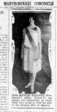 WIELAND, Myrtle - Popular Girl Competition Winner, Goomeri Hall of Memory, Maryborough Chronicle 30 April 1930, p. 13