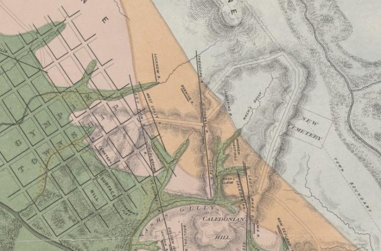 1870 Map, Gympie Goldfields, T. R Hacket - Tozer Park Cemetery,