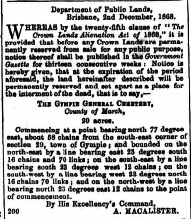 December 1868, Advertisement for 20 acres of Tozer Park Road Cemetery