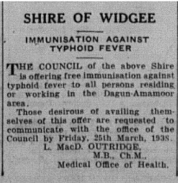 GT 19 March 1938 - Immunisation against typhoid fever