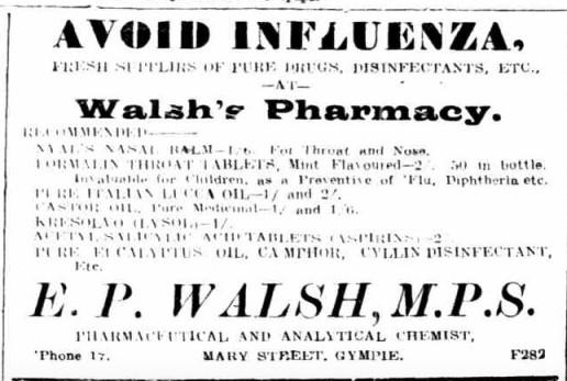 GT 24 Jun 1919 - Advertisement, Walsh's Pharmacy, avoid the flu