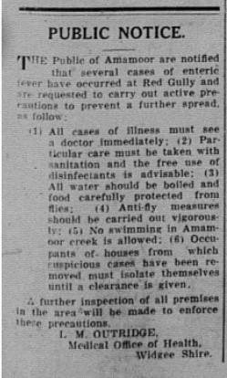 GT, 5 March 1938 - Public Notice, Typhoid