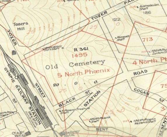 Tozer Park Road Cemetery - Dunstan Map Sheet 9, 1910