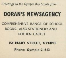 Greetings to the Gympie Boy Scouts / Doran's Newsagency