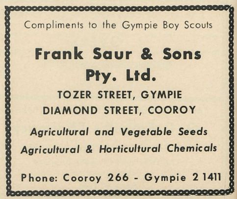 Compliments to the Gympie Boy Scouts / Frank Saur and Sons