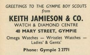 Greetings to the Gympie Boy Scouts from Keith Jamieson and Co