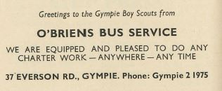 Greetings to the Gympie Boy Scouts from O'Briens Bus Service